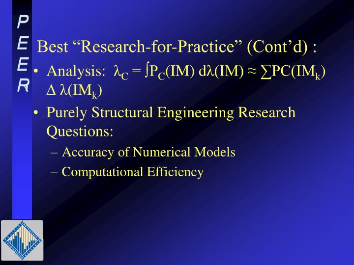 "Best ""Research-for-Practice"" (Cont'd) :"