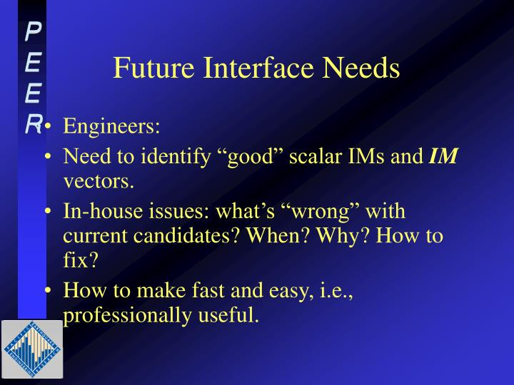 Future Interface Needs