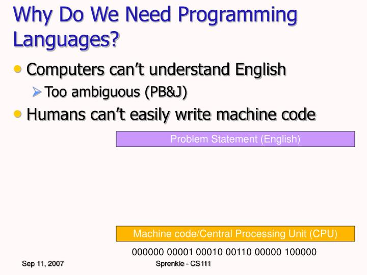 Why do we need programming languages