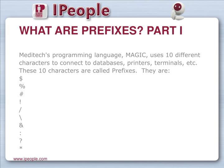 What are prefixes part i