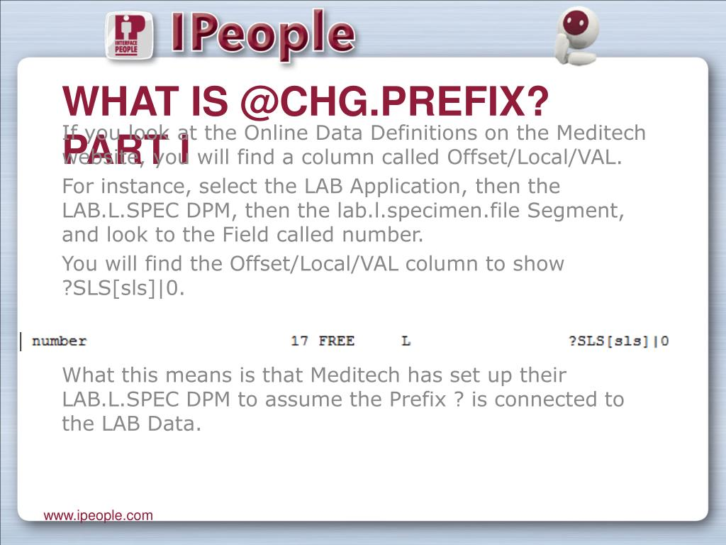 What is @Chg.prefix? Part I