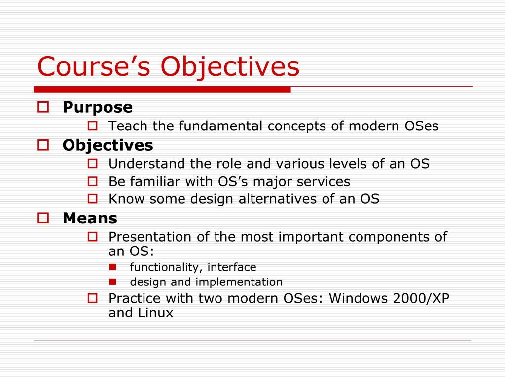 Course's Objectives