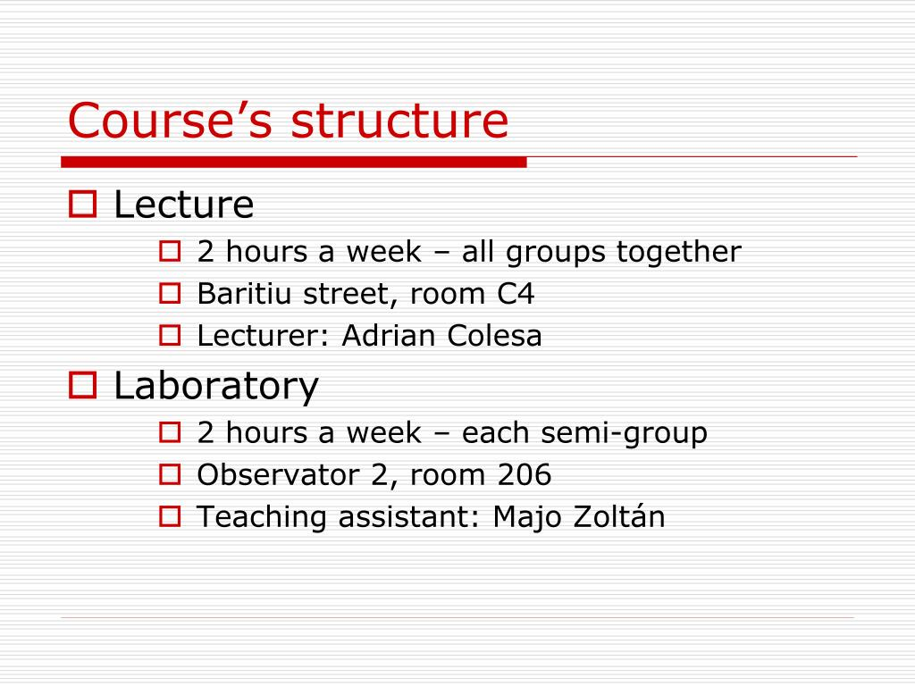 Course's structure