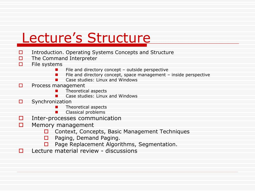 Lecture's Structure