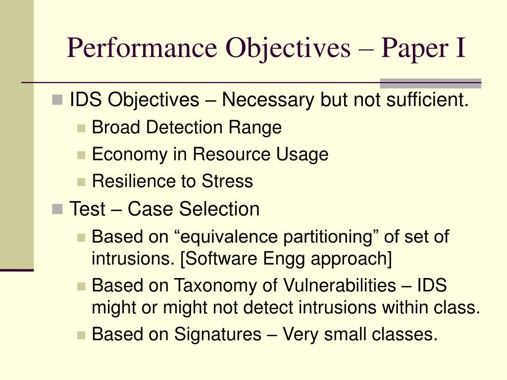 Performance Objectives – Paper I