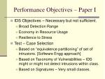 performance objectives paper i