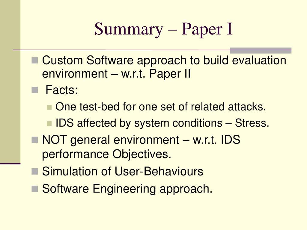 Summary – Paper I