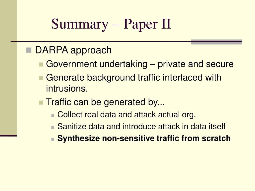 Summary – Paper II