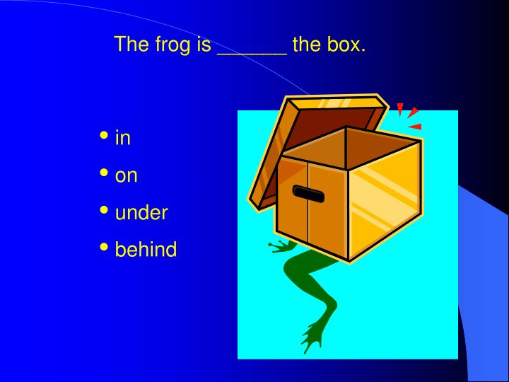The frog is ______ the box.