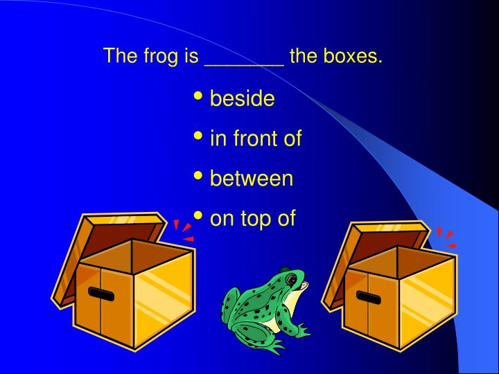 The frog is _______ the boxes.