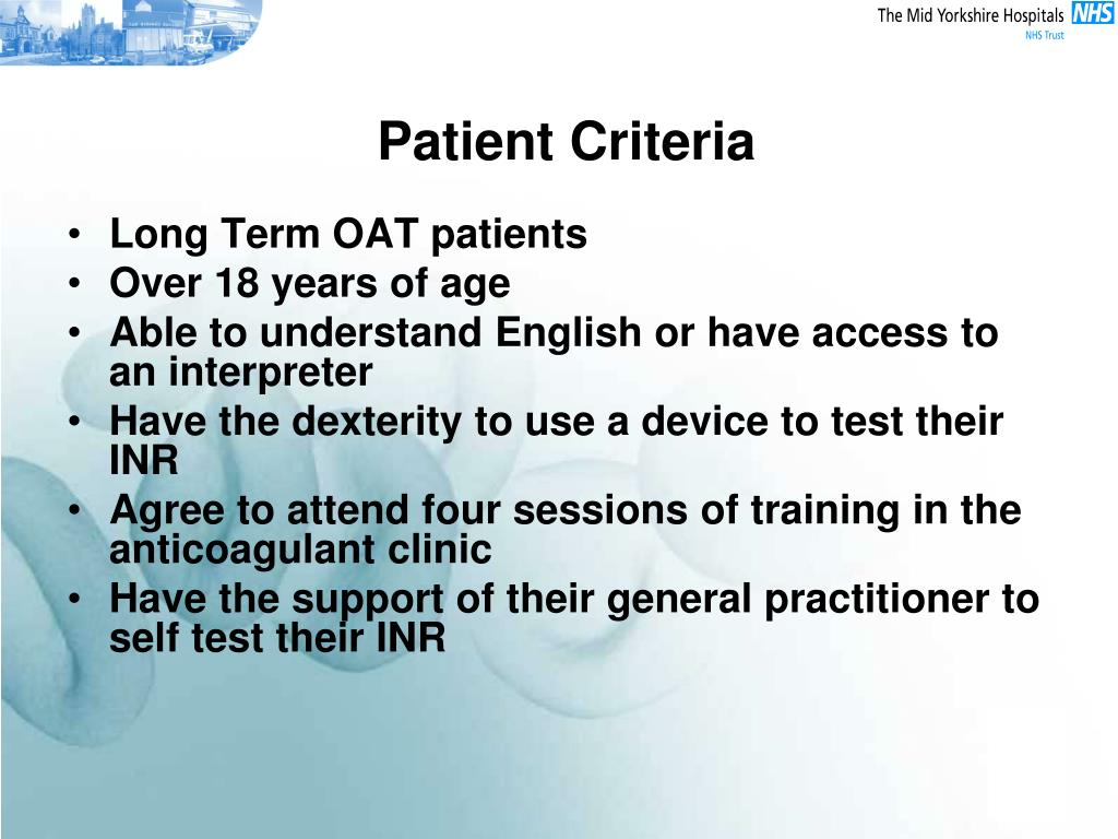 Patient Criteria