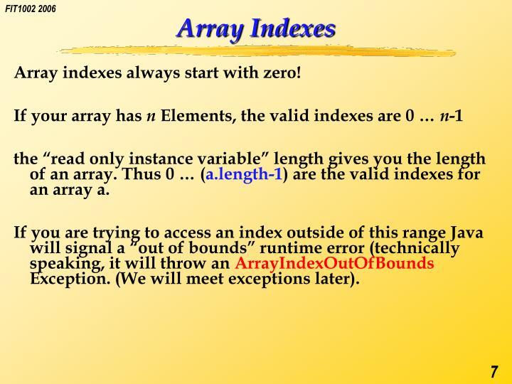 Array Indexes