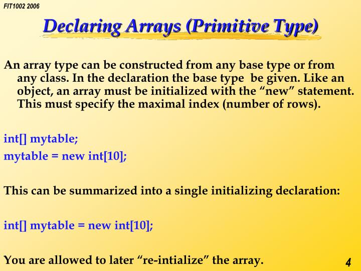 Declaring Arrays (Primitive Type)