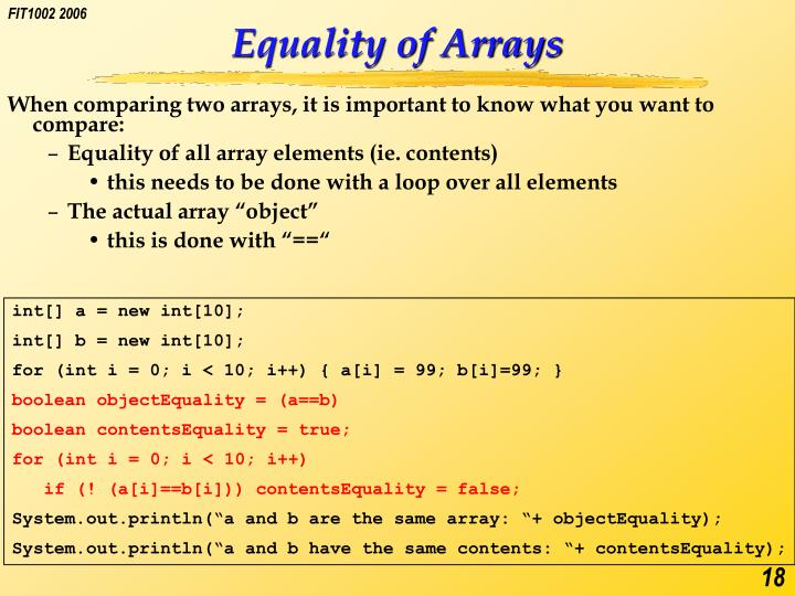 Equality of Arrays
