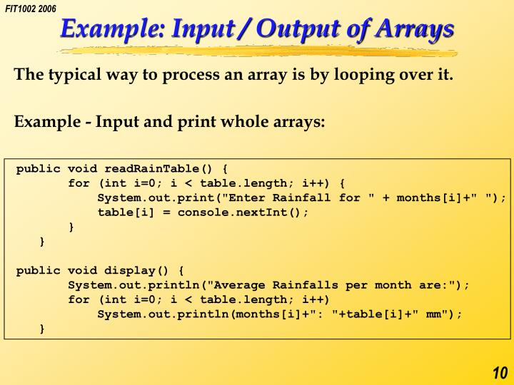 Example: Input / Output of Arrays