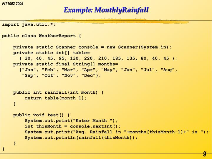 Example: MonthlyRainfall