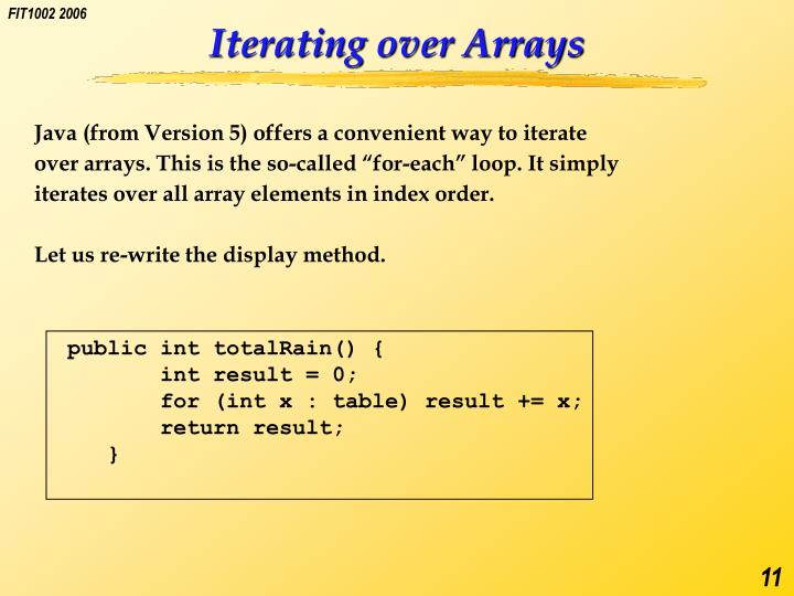 Iterating over Arrays
