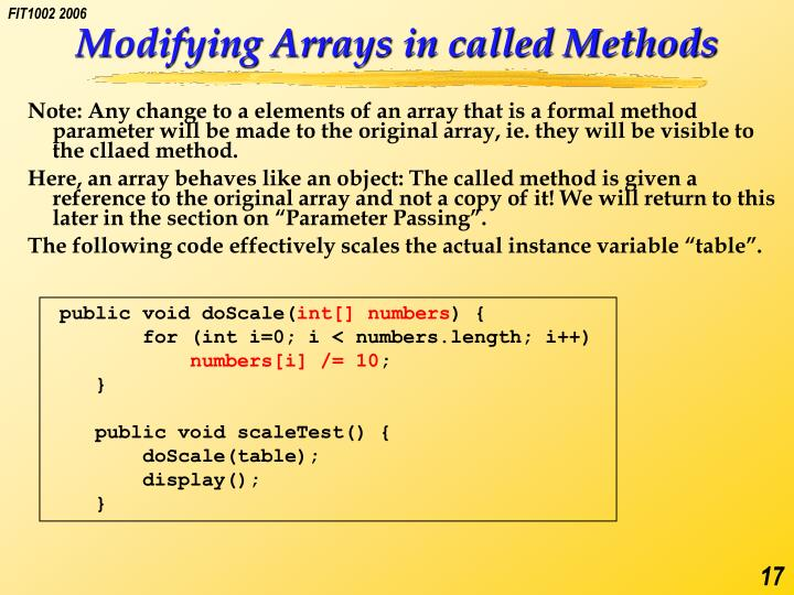 Modifying Arrays in called Methods
