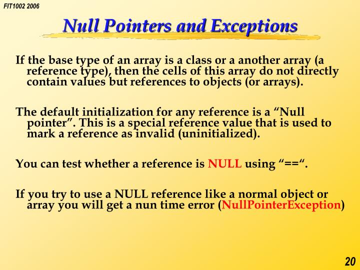 Null Pointers and Exceptions