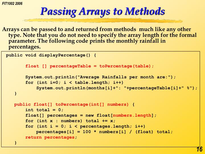 Passing Arrays to Methods