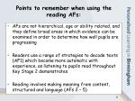 points to remember when using the reading afs