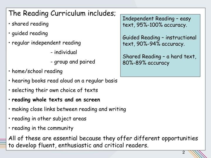 The Reading Curriculum includes;