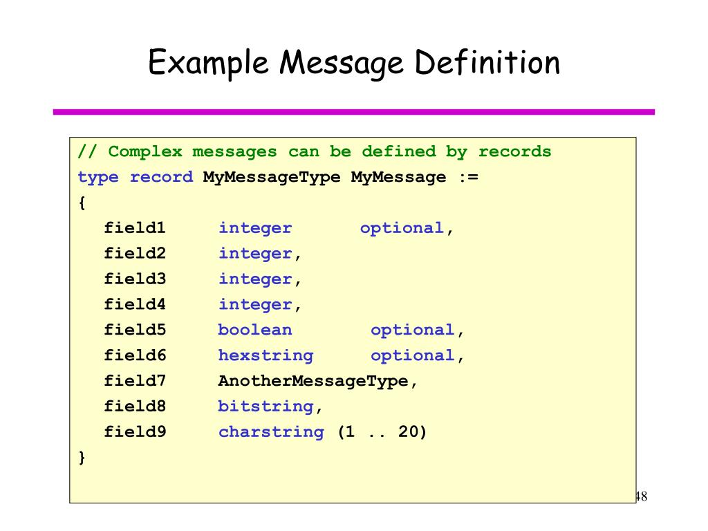 Example Message Definition