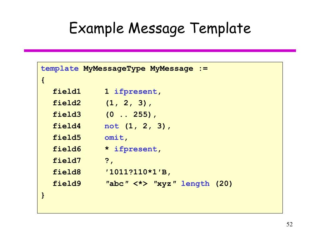 Example Message Template