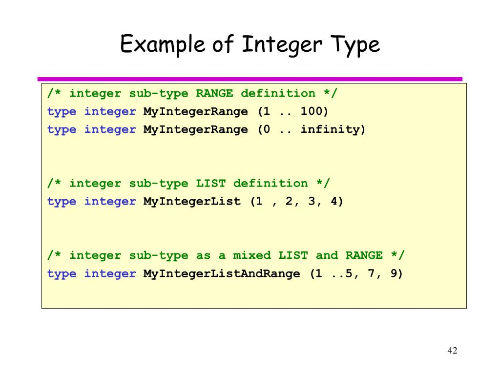 Example of Integer Type