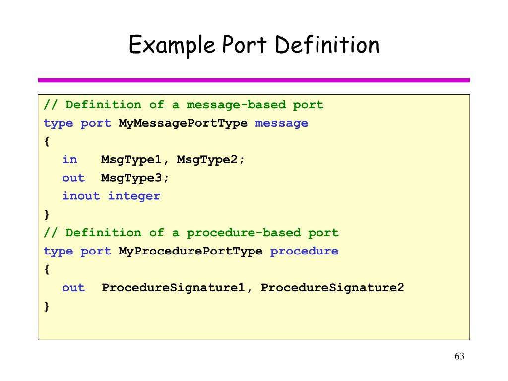 Example Port Definition