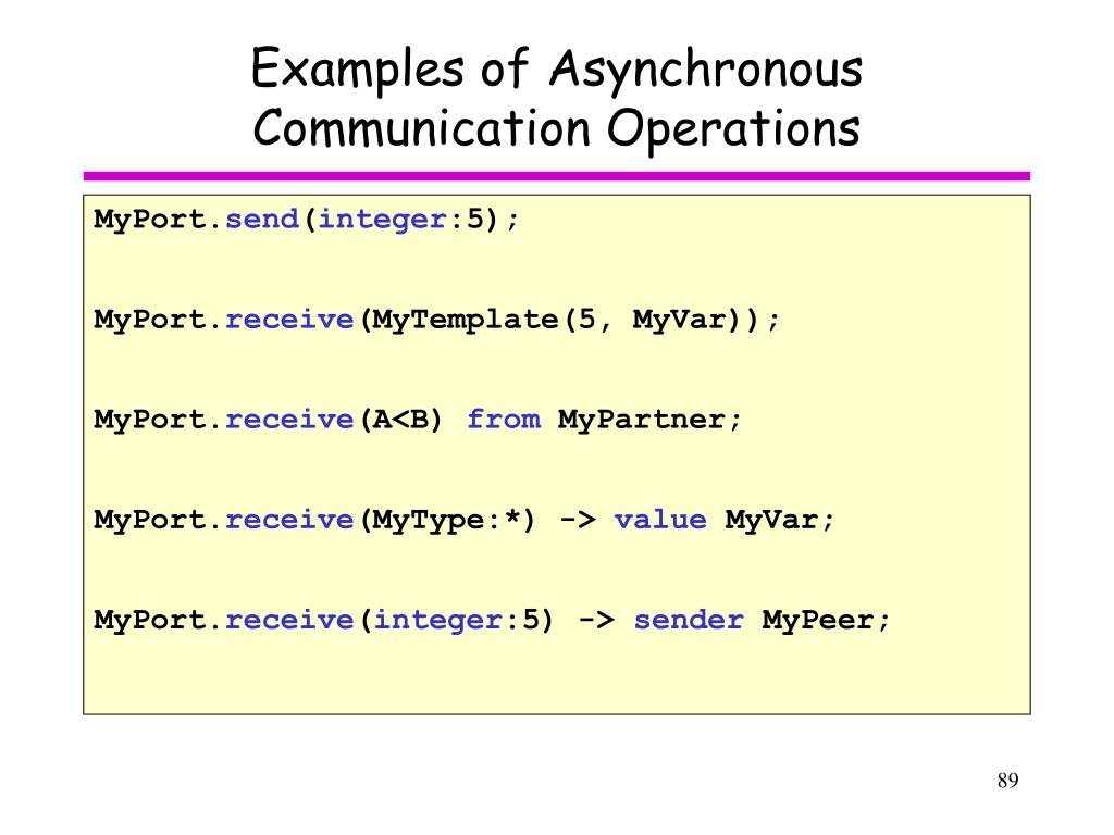 Examples of Asynchronous Communication Operations