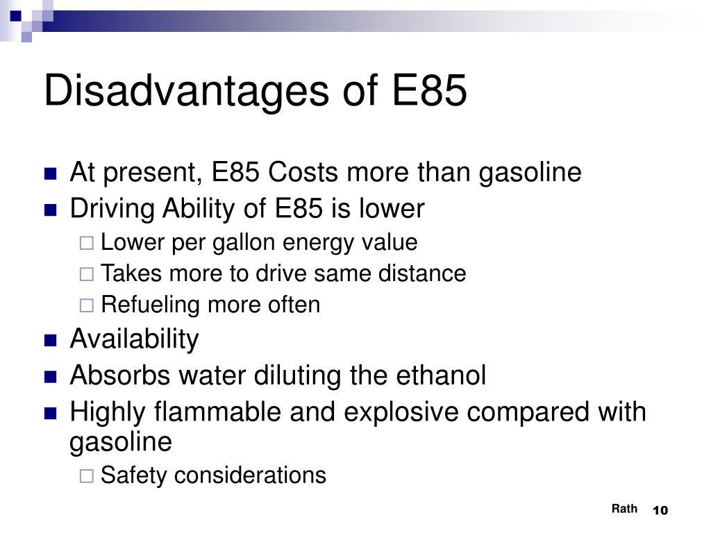 Disadvantages of E85