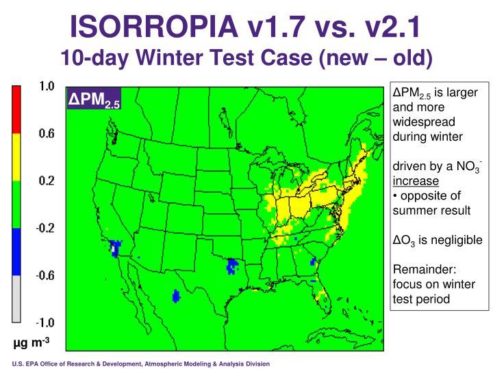 ISORROPIA v1.7 vs. v2.1