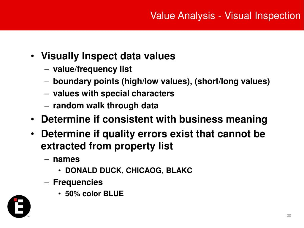 Value Analysis - Visual Inspection