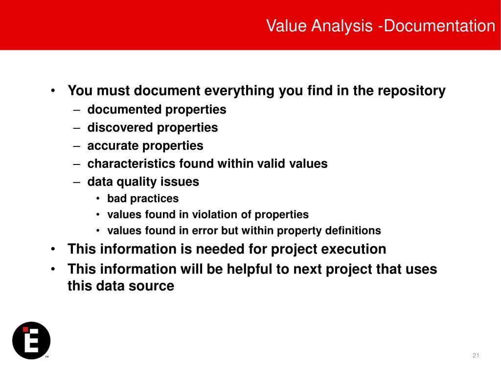 Value Analysis -Documentation