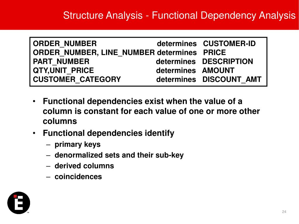 Structure Analysis - Functional Dependency Analysis