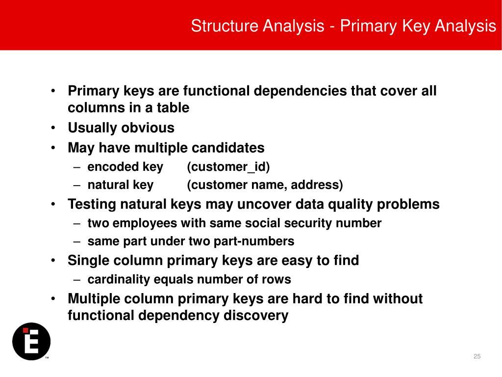 Structure Analysis - Primary Key Analysis