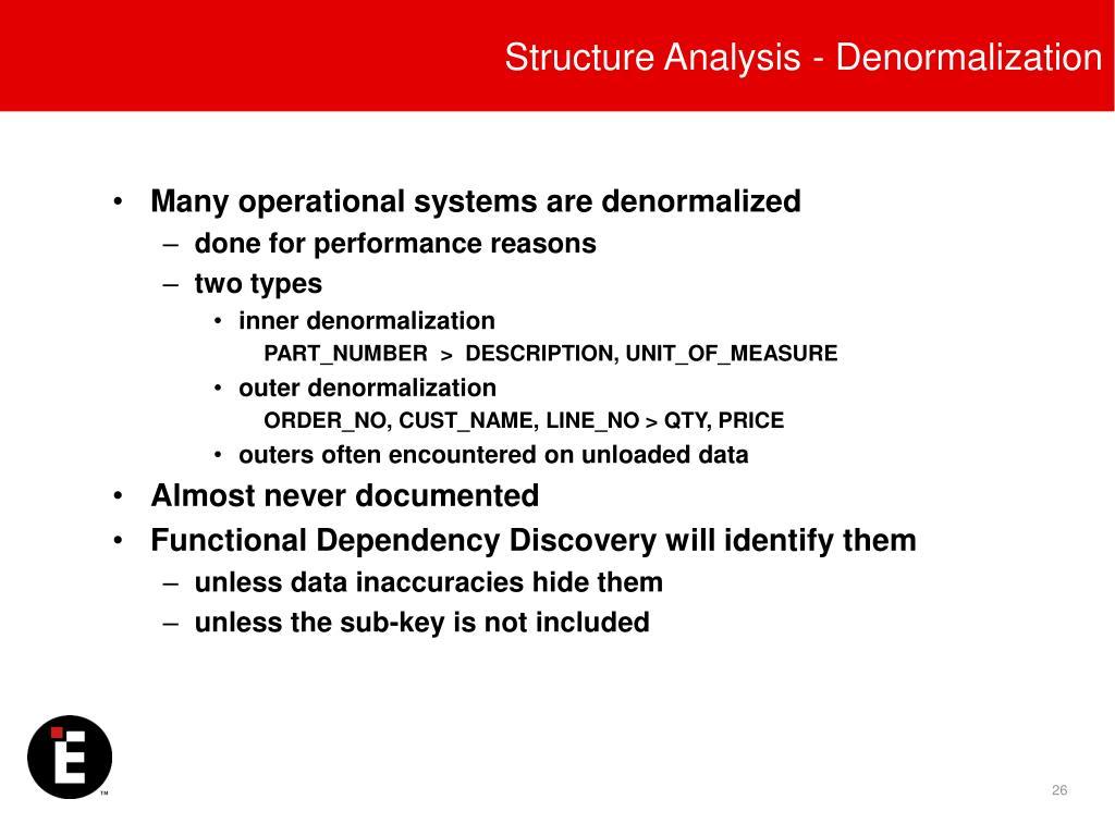 Structure Analysis - Denormalization