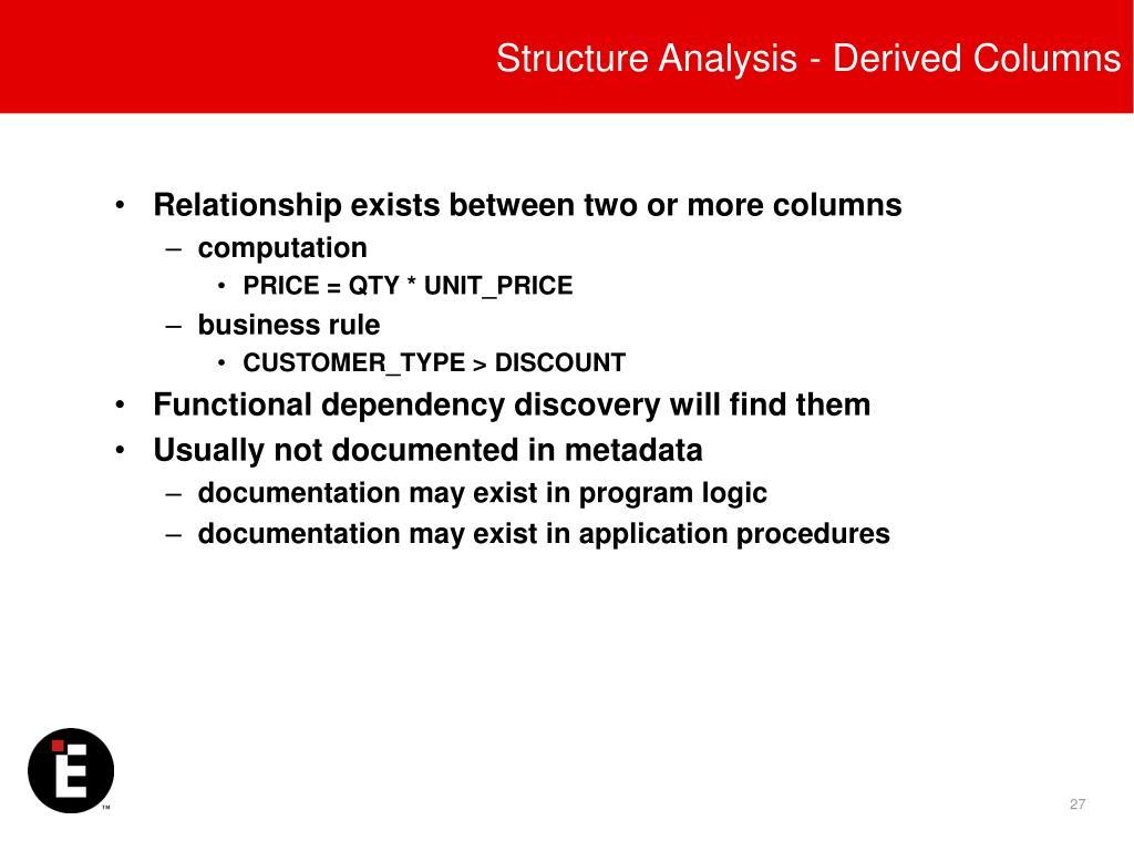 Structure Analysis - Derived Columns