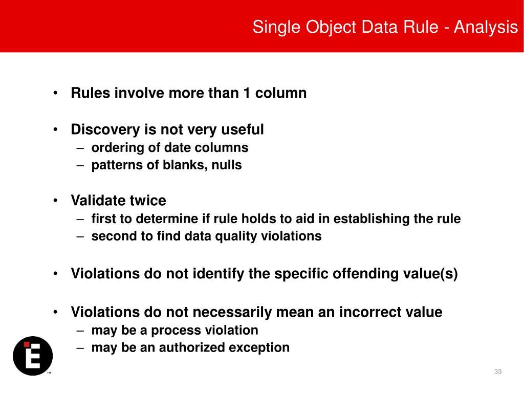 Single Object Data Rule - Analysis