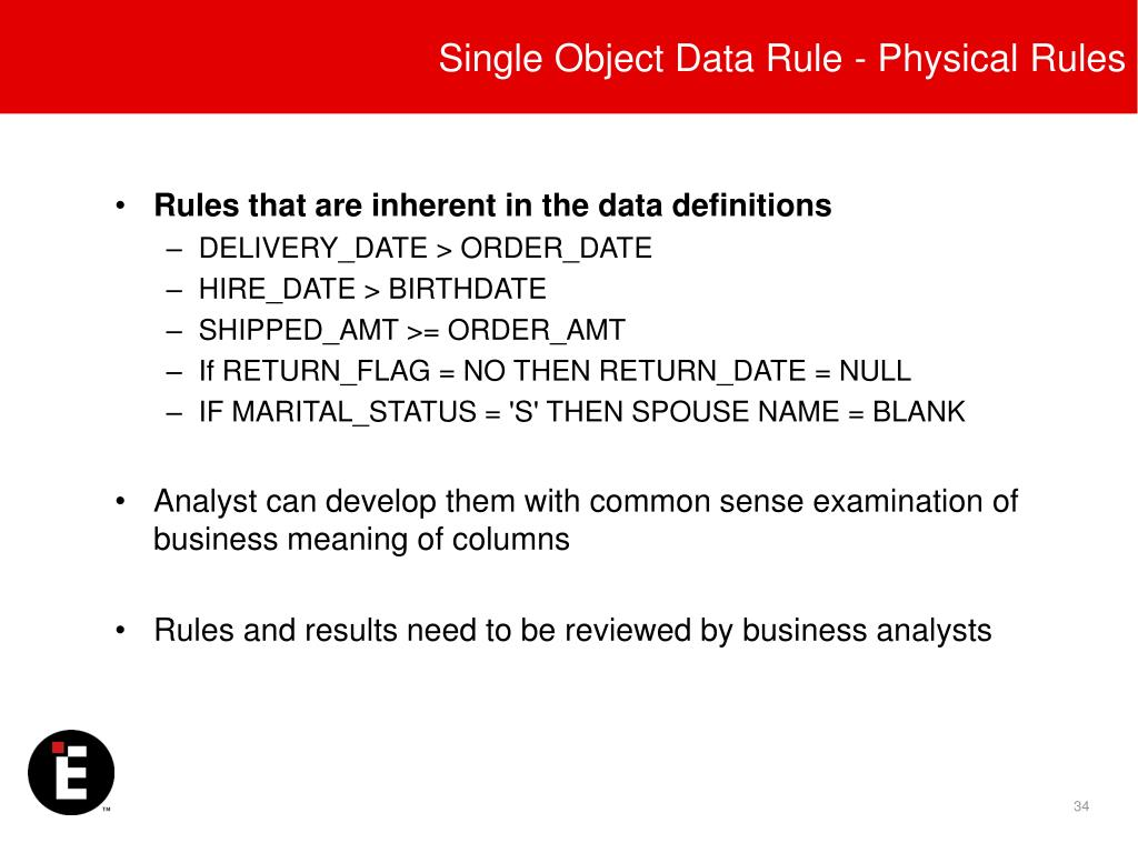 Single Object Data Rule - Physical Rules