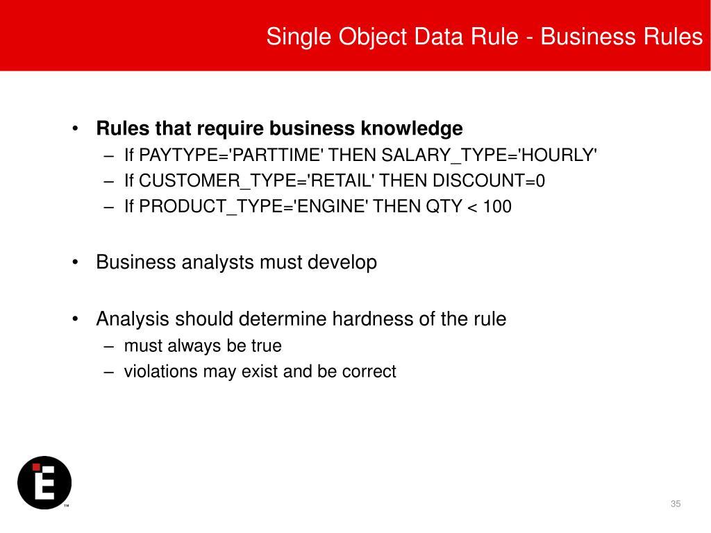 Single Object Data Rule - Business Rules