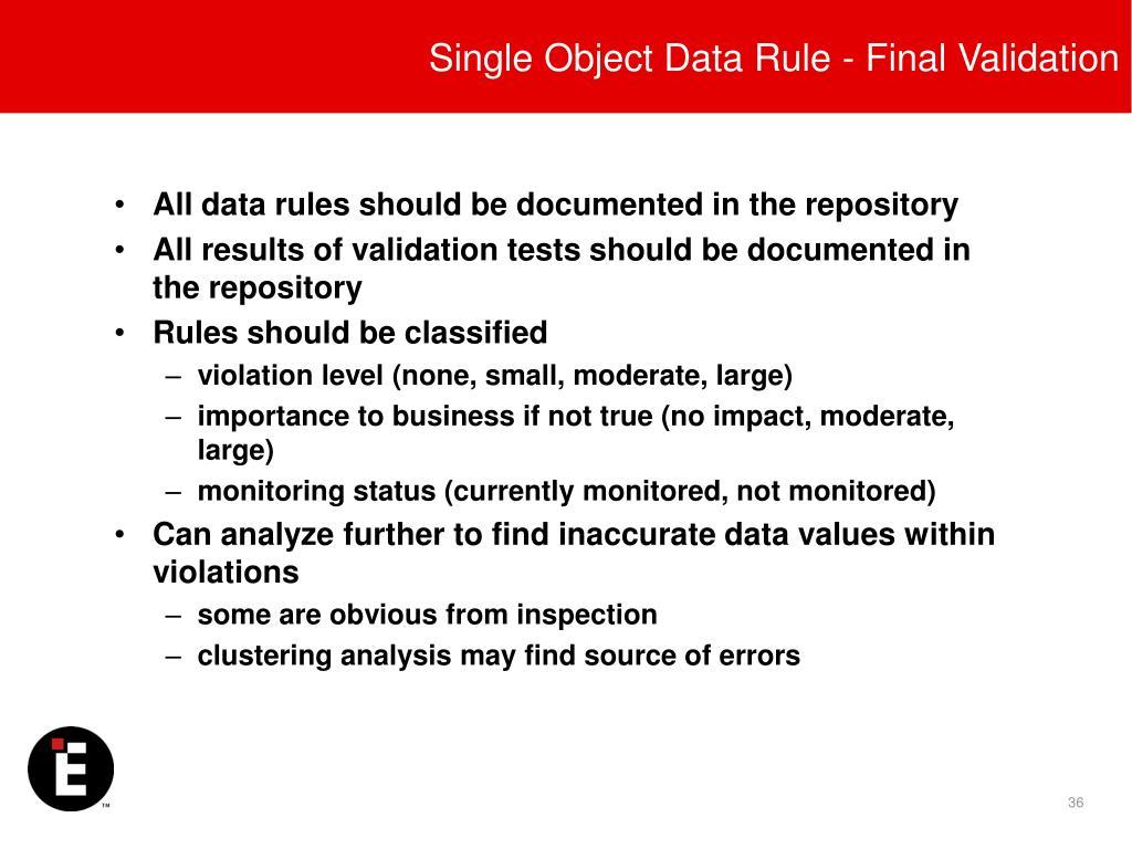 Single Object Data Rule - Final Validation