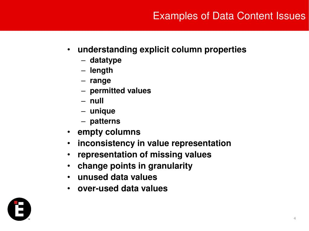 Examples of Data Content Issues