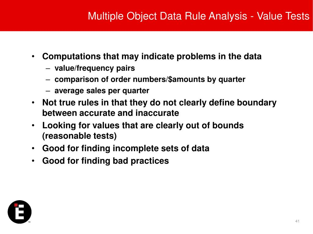 Multiple Object Data Rule Analysis - Value Tests