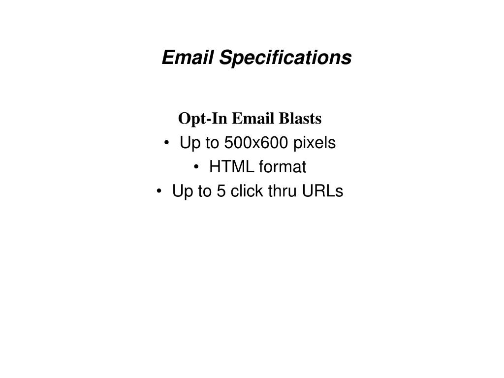 Email Specifications