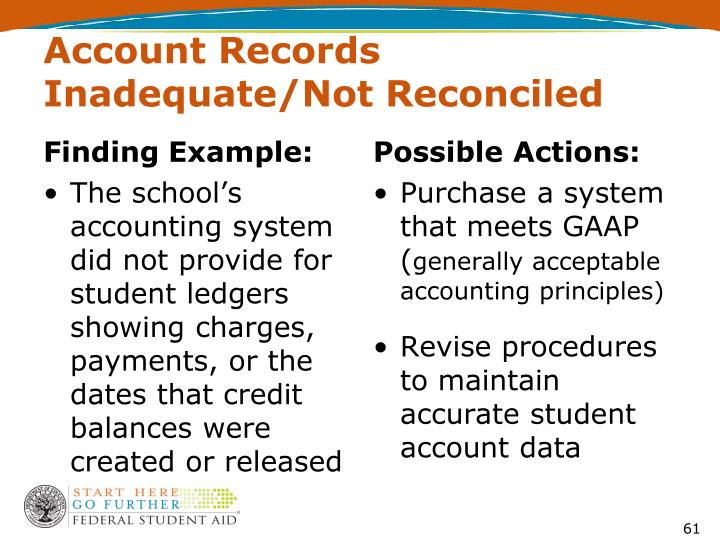 Account Records Inadequate/Not Reconciled