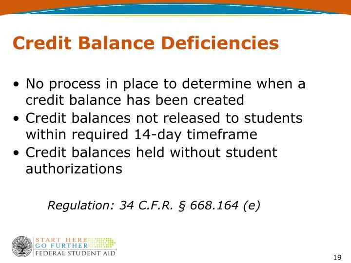 Credit Balance Deficiencies