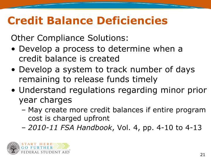 Credit Balance Deficiencies