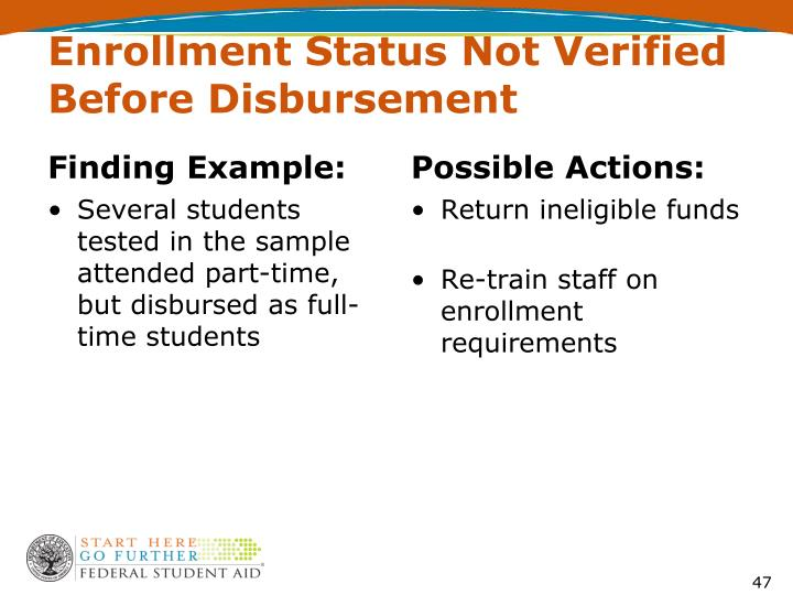 Enrollment Status Not Verified Before Disbursement
